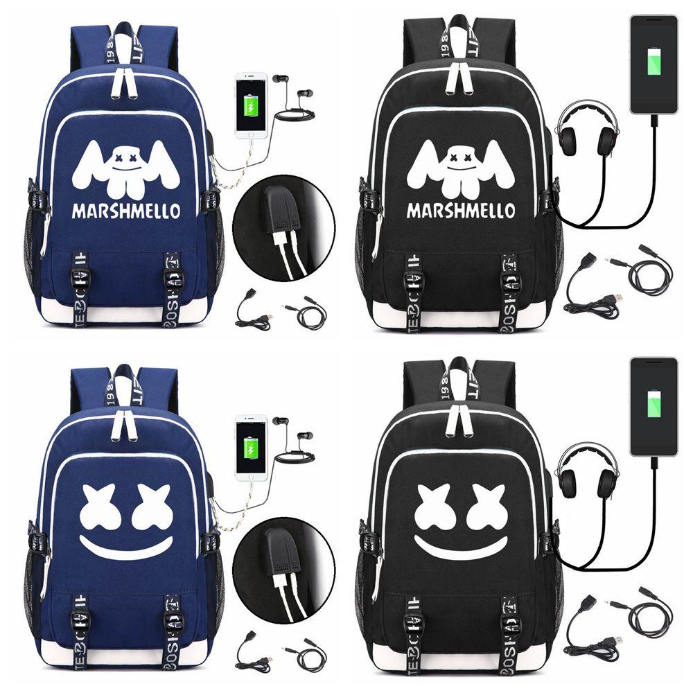 ffeeac7da DJ marshmello school bag usb laptop backpack for girls boys teenagers  children's cool bookbag kids handbag FFA1708