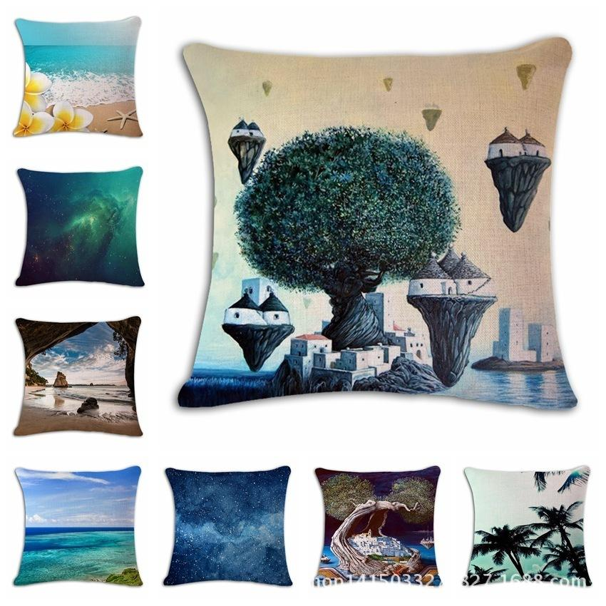 Seaside Sandy Beach Coconut Tree Cotton Flax Pillow Back Cushion
