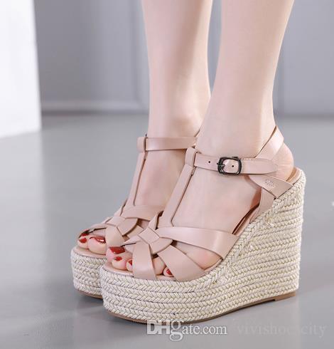 09057c5db376 Sexy designer sandals ladies wedge sandals knitted straw woven platform  shoes luxury women slides size 35 To 40
