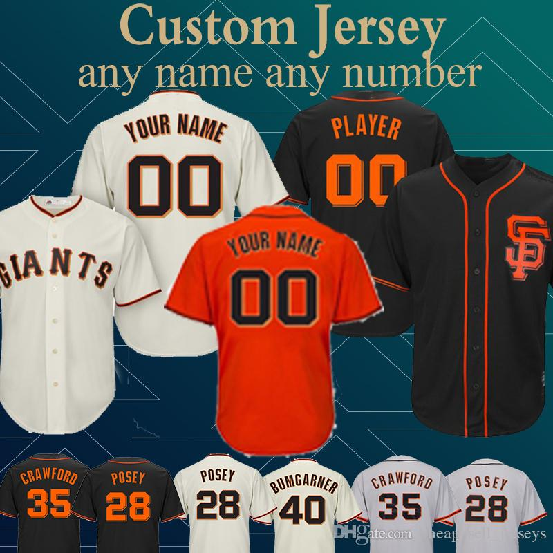 best website e9d96 961e6 Customized Custom Game Jersey Giants Jersey 35 Brandon Crawford 40 Madison  Bumgarner 100% Stitched any number any name