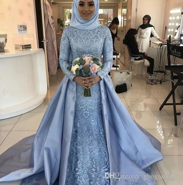 4c67c51ed7ad Discount 2019 Vintage Lace Arabic Muslim Islamic Long Sleeve Wedding Dresses  With Overskirt High Neck Garden Bridal Gowns Custom Made Plus Size Brides  ...