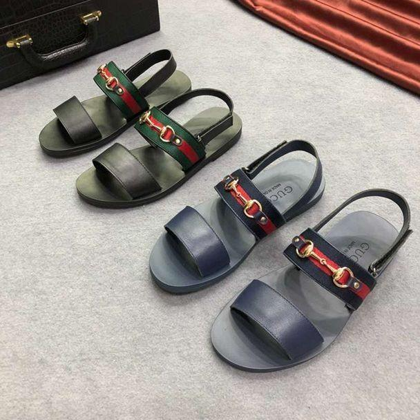 4d5c343fab4e8 2019 New hot sale summer women s retro shoes men sandals Leisure high  quality comfortable fashion Imported cowhide