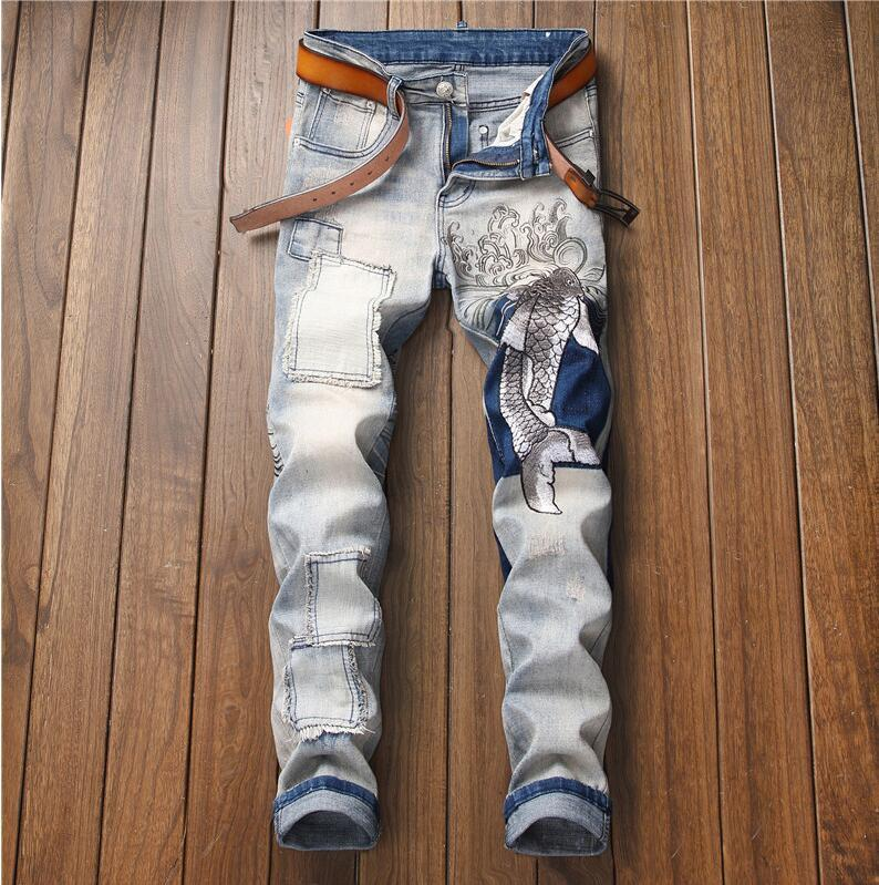 Original design motorcycle denim pants mens trousers straight stretch mens jeans embroidery squid retro Slim men's tide pants