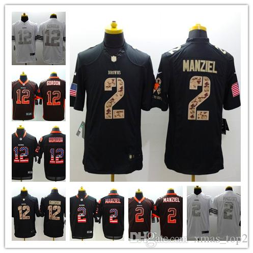 uk availability 02893 8f808 2019 New Mens 12 Josh Gordon Jersey Cleveland Browns Football Jersey 100%  Stitched Embroidery Johnny Manziel Color Rush Football Shirts