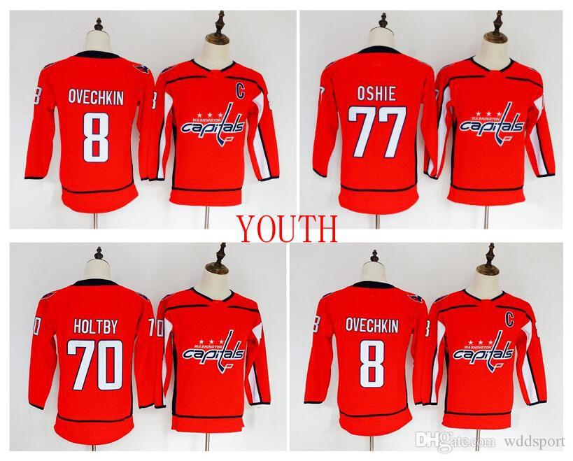 outlet store f37e3 f2d05 2018 Youth Kids Washington Capitals Jersey Cheap 8 Alex Ovechkin 77 TJ  Oshie 70 Braden Holtby Red Boys Jerseys Authentic Ice Hockey Jerseys