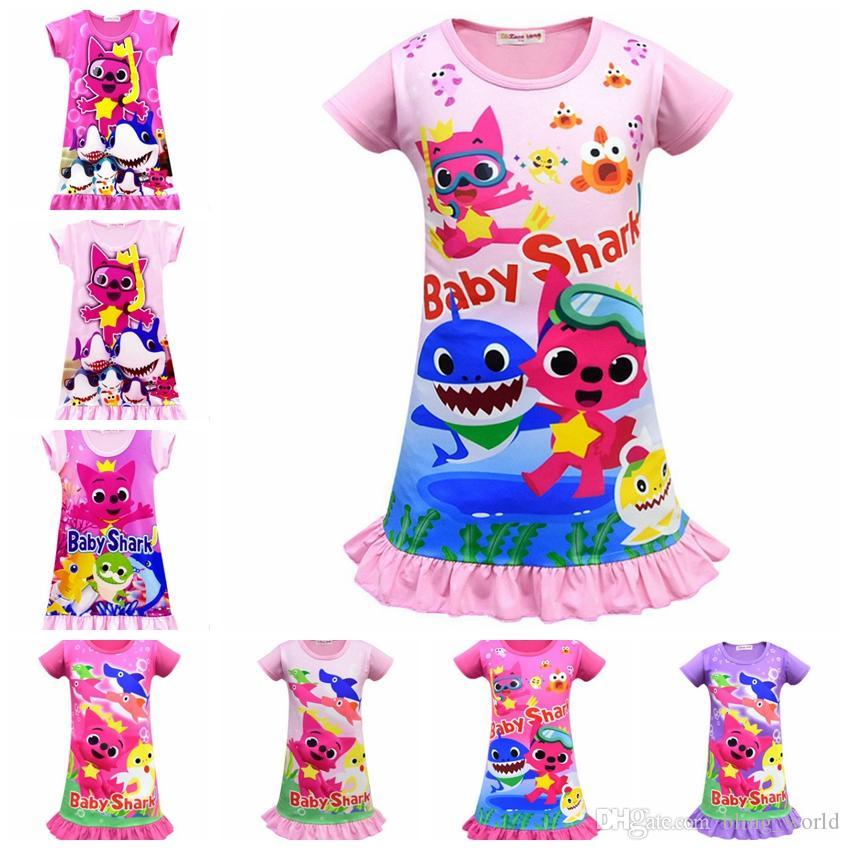 a1f5b78ba Compre Bebé Shark Pijamas Niños Niñas Vestido Pijamas Dibujos Animados Bebé  Pijamas Manga Corta Niños Camisón Verano Niños Sleepwears 11 Diseños YW2805  A ...