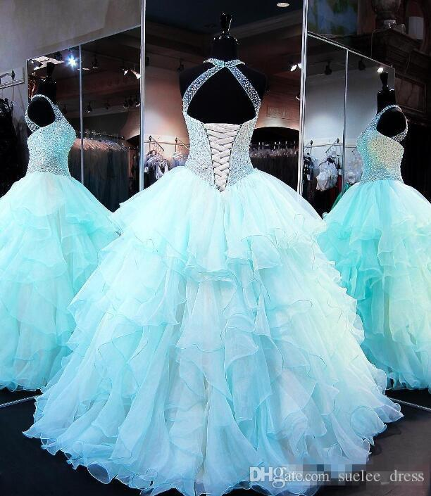 e3de9e3a3f7 Luxrury Beaded Sequins Quinceanera Dresses Sexy Halter Ruffles Tiered  Organza Ball Gown Prom Dress Sweet 16 Formal Wear Custom Made Turquoise  Quinceanera ...