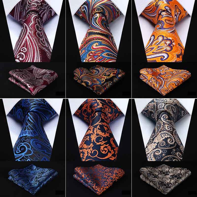 1b4f4e24e5d73 2019 Hisdern Necktie Handkerchief Set Classic Paisley Gift For Men Woven  Wedding Party Silk Men Tie Pocket Square Navy Blue Red EFD From  Homejewelry, ...