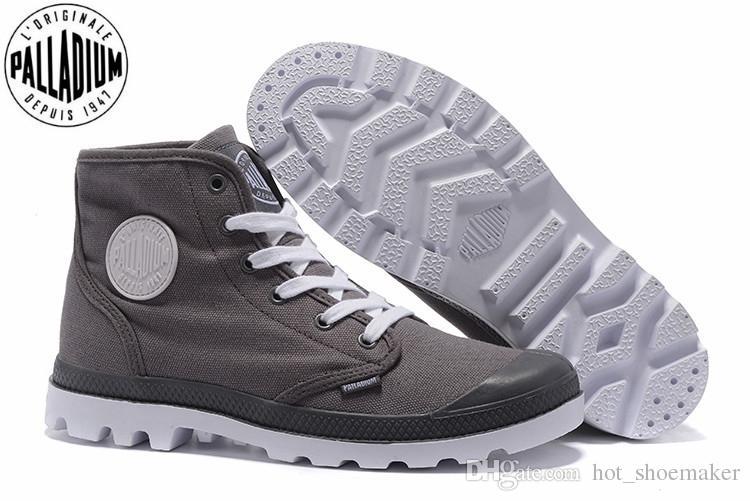 6ee32c527b0 PALLADIUM PAMPA HI ORIGINALE TC FOOTWEAR Gray Classic Canvas Shoe Ankle  Boots Fashion Casual #365140