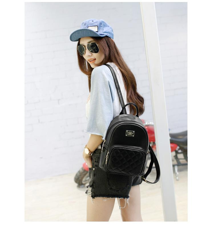 Classical Women Backpack for Teens Black PU Leather Cute Bagpack Bags Cheap Backpacks for School Teenagers Girls Backbag Female