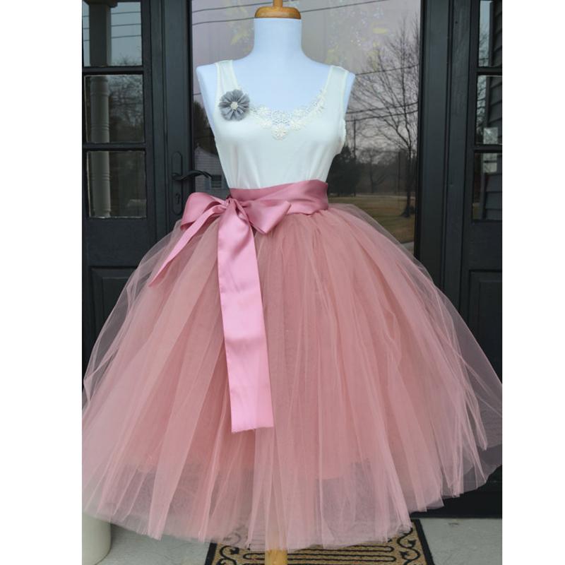 2f83c93cfa Compre 6 Capas 65 Cm Moda Falda De Tul Faldas Plisadas Del Tutú Para Mujer  Lolita Enagua Damas De Honor Falda Midi De La Vendimia Jupe Saias Faldas  S416 A ...