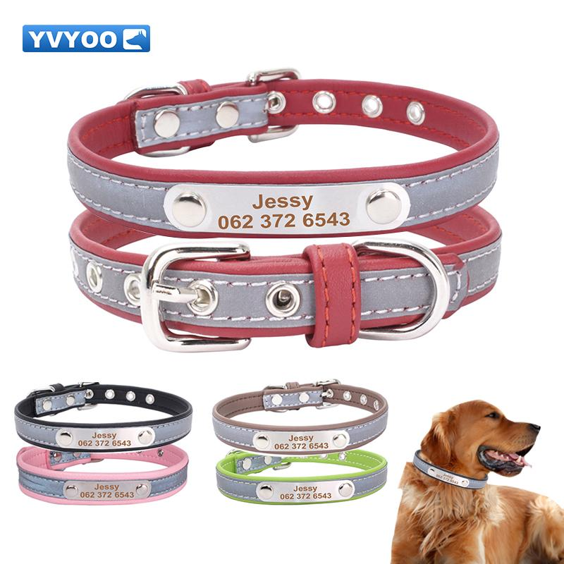 55c793527032 Pet Dog Free Engraved Personalized Pet Cat Dog Leather Collar ...