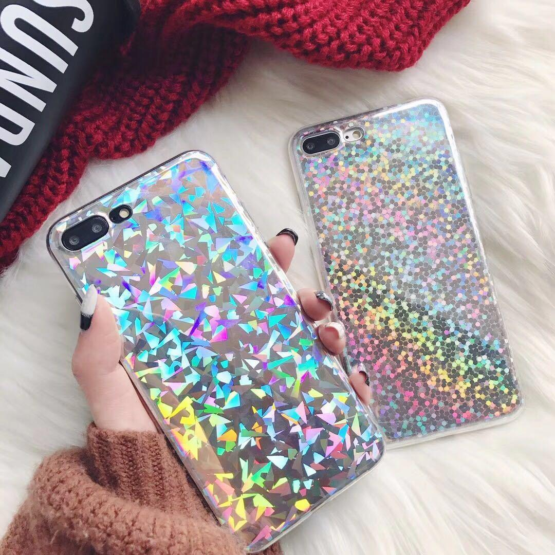 Korea Ins Diamonds Laser Color Wave Point Apply Iphonexs R15 X21 Beautiful Picture Hand Shell Apple 8
