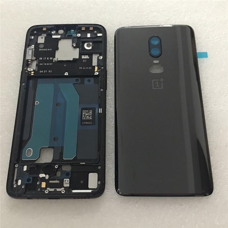 super popular a72a0 068d0 Original For Oneplus 6 Housing Door Battery Cover For Oneplus 6 A6000 1+6  Glass back Rear case shell LCD middle Frame SIM Tary