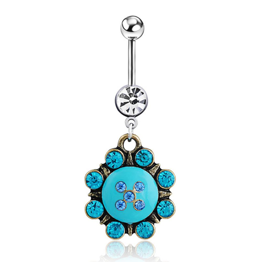 Flower Dangle Belly Button Ring Piercing Barbell Surgical Steel Blue Double Crystal Navel Piercing Sexy Body Jewelry Gifts