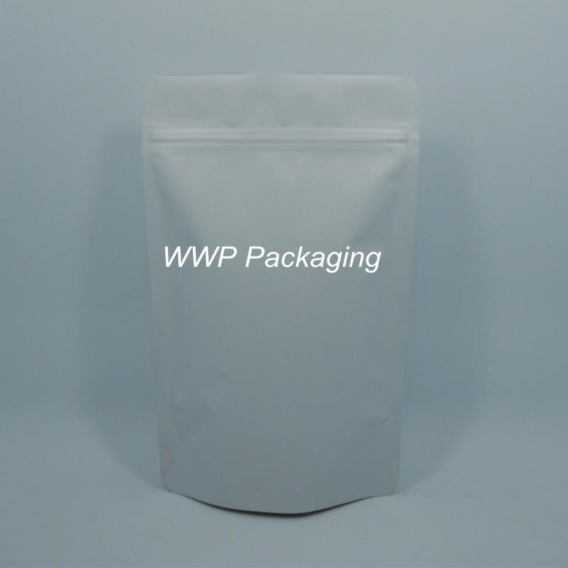 40Pcs/ Lot 18*29cm Heat Seal Doypack Pure Aluminum Foil Valve Pack Bag Coffee Snack Stand Up Matte White Storage Ziplock Pouch