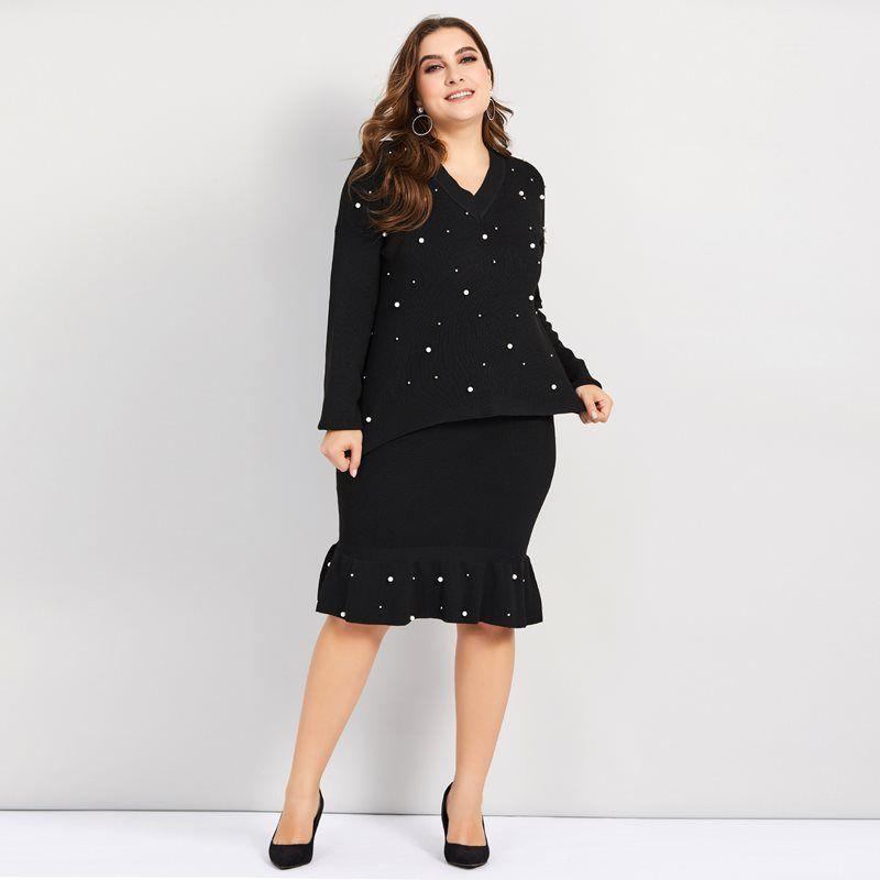47f7318f37e10 2019 Woman Sets Plus Size Knitted Sweater Beads Sexy Bodycon Skirt Elegant  Ruffles Slim Black Office Wear Casual Winter Two Piece Set From Zanzibar