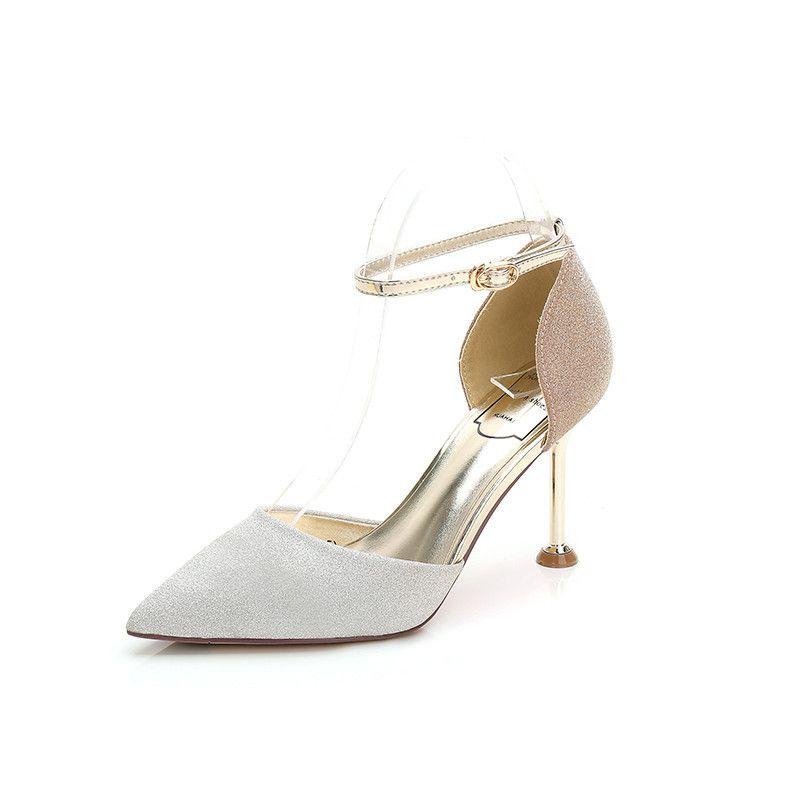 1e265eb15e8 Wedding Shoes Woman Heel Glitters Bride Pointe Shoe One Word Buckle Thin  Thin Heel Ladies Sexy Summer Wedding High Heels Woman Sandals Orthopedic  Shoes ...