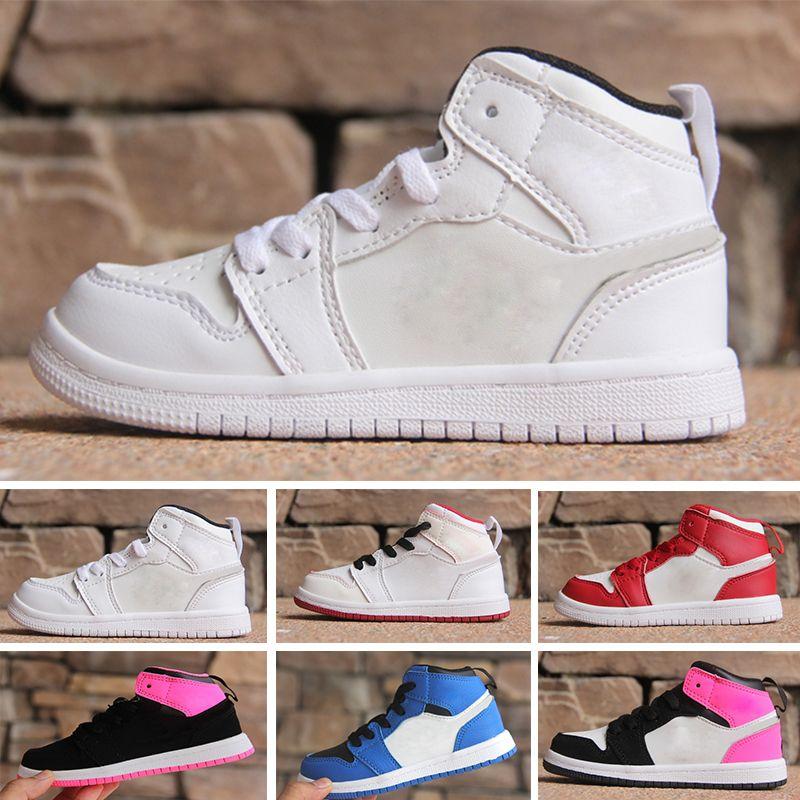 60a1cbf85586fa Großhandel Nike Air Jordan 1 Retro Jungen Mädchen 1s Kinder Aus Basketball  Schuhe Kinder Chicago 1s Turnhalle Rot Rosa Und Weiß Lila Französisch Blau  ...