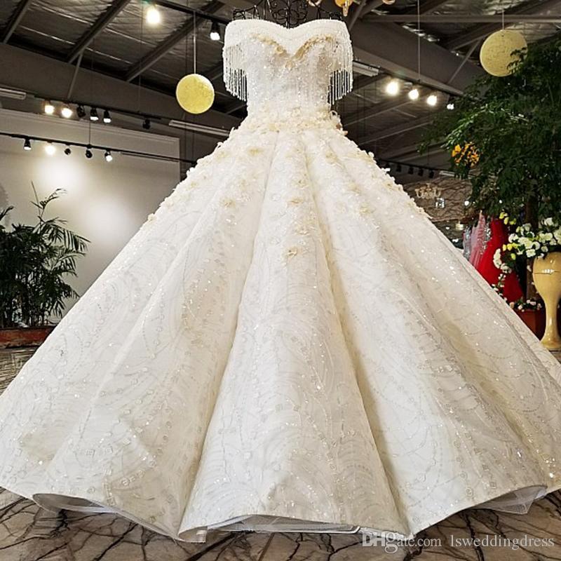 2019 Robe De Mariée De Luxe Perlé Chérie Hors épaule Robe De Bal Dentelle Jusqu à Retour Robes De Mariée Mariée Cristal Longueur De Plancher De Gland