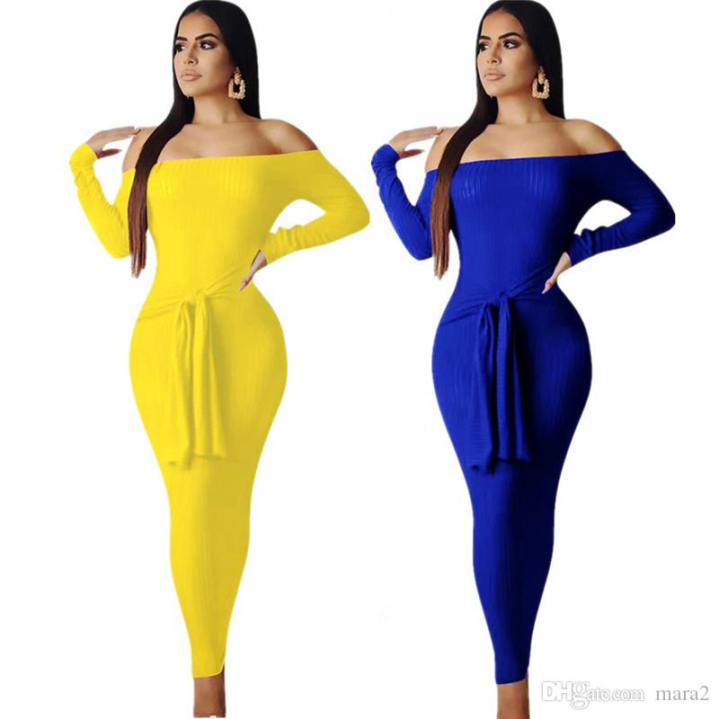 Women fall winter maxi dresses elegant vintage sexy & club long sleeve slash neck bandage sheath column long skirt solid color fashion 1352