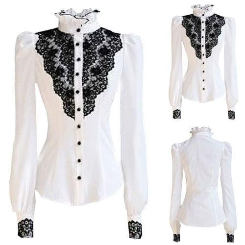 e174c93f87a New Fashion OL Lace White Blouse Women Long Sleeve Button Office ...