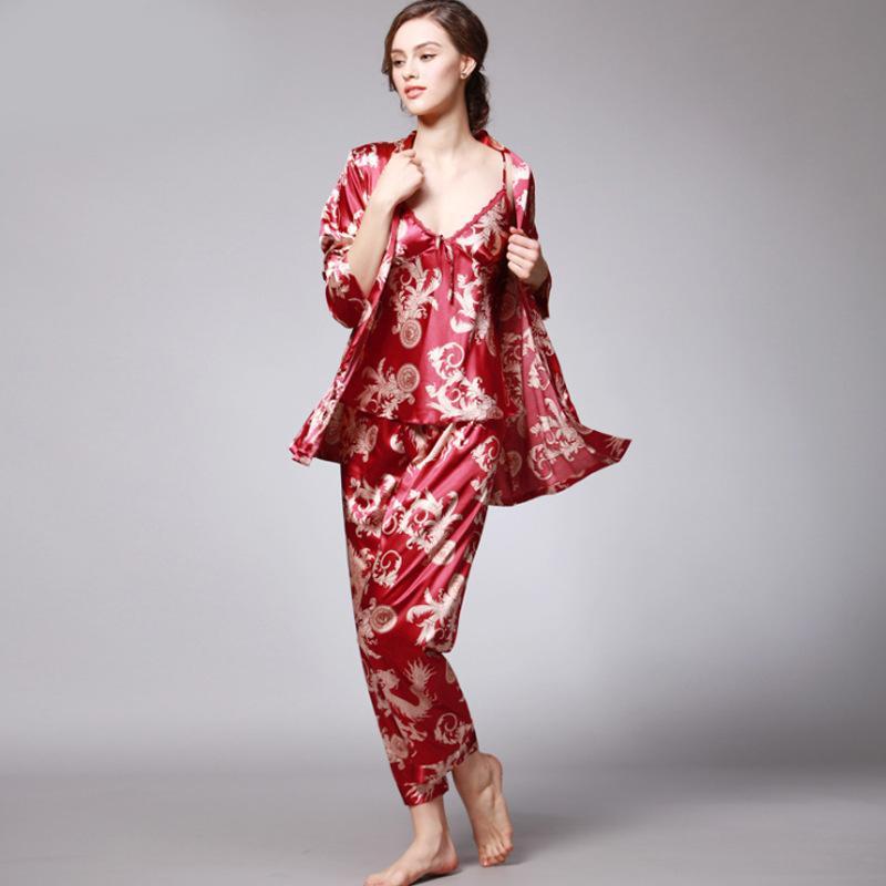 4483ef1ffec024 2019 SSH008 Women Satin Silk Pajama Set Female Full Sleeves Sleepwear  Loungewear Women Nightgown Spring Autumn Nightwear Pajamas Q190422 From  Tai002, ...