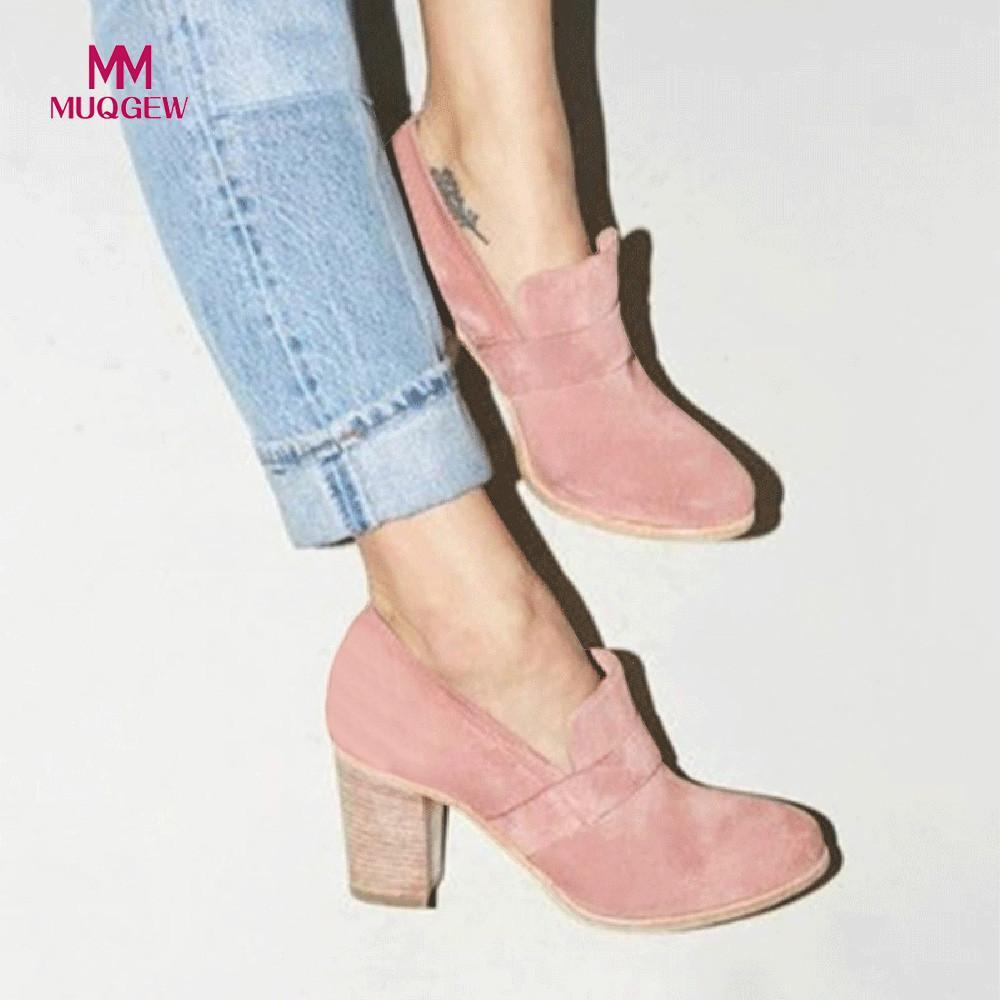 Designer Dress Shoes 2019 New Fashion Women Pumps Round Toe Suede High Heel  Pure Color Boots Slip On Single Female Casual Pumps Mens Trainers Walking  Shoes ... a070b4793