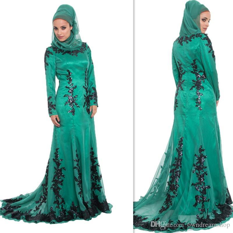 Green Arab Islamic Muslim Prom Dresses Hijab Spring Long Sleeves Evening Party Gowns Plus Size Formal Dress For Muslims Women 2019 Attire