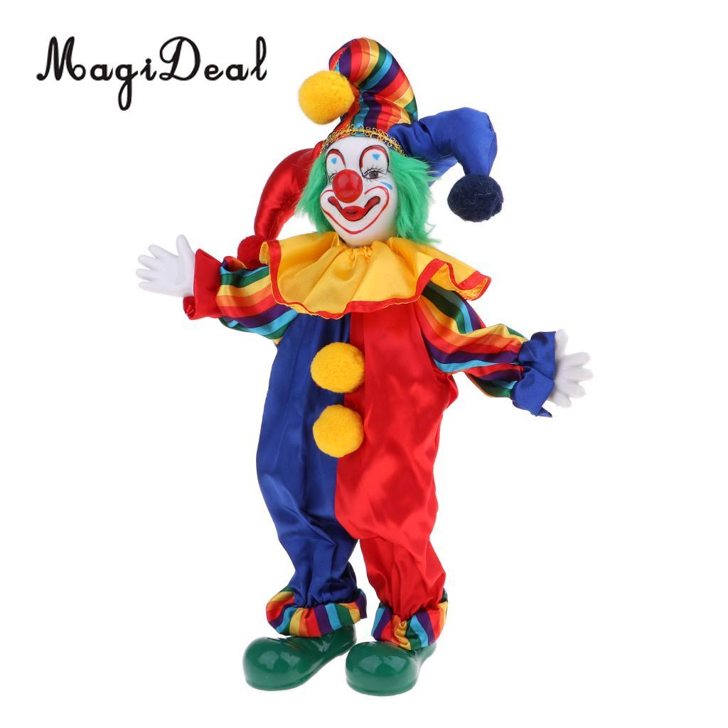 38cm Lovely Smiling Porcelain Clown Doll in Colorful Clothes For Kids  Birthday Gifts Halloween Christmas Table Decoration