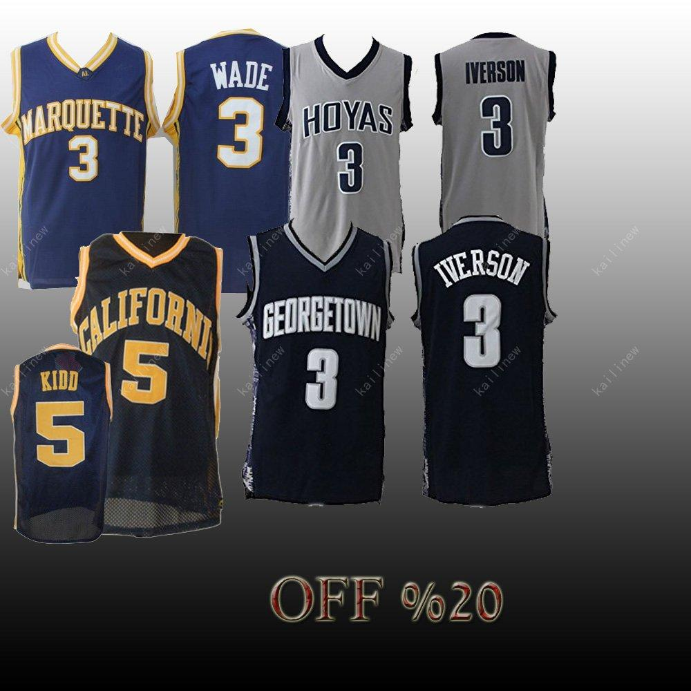 new arrival 540fa accb0 Men NCAA jersey Georgetown Hoyas 3 Allen Iverson California 5 Kidd Golden  Eagles 3 Wade jerseys Basketball Jerseys Embroidery sewing