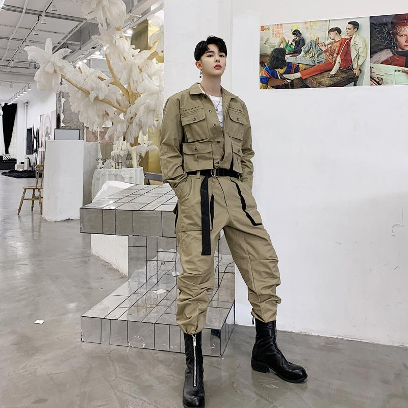 Cargo Pants Male Streetwear Overalls Couple Clothes Jumpsuit Harem Trousers Men High Street Hip Hop Casual Long Sleeve Jumpsuit Cargo Pant Men's Clothing