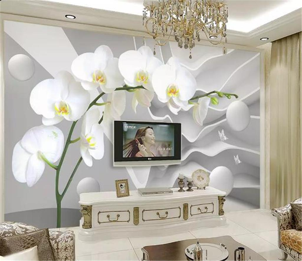 Custom 3D Wallpaper 3d Dimensional Abstract Space Phalaenopsis Ball Living Room Bedroom Background Wall Decoration Mural Wallpaper