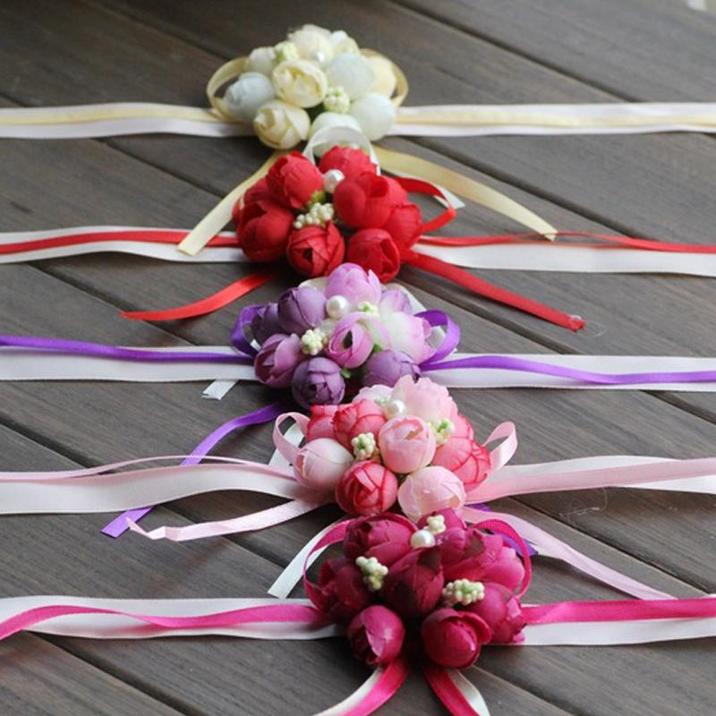 Silk Artificial Rose Wrist Corsage Bracelet Rose Flower Bridesmaid Hand Flower With Ribbon Wedding Party Accessories
