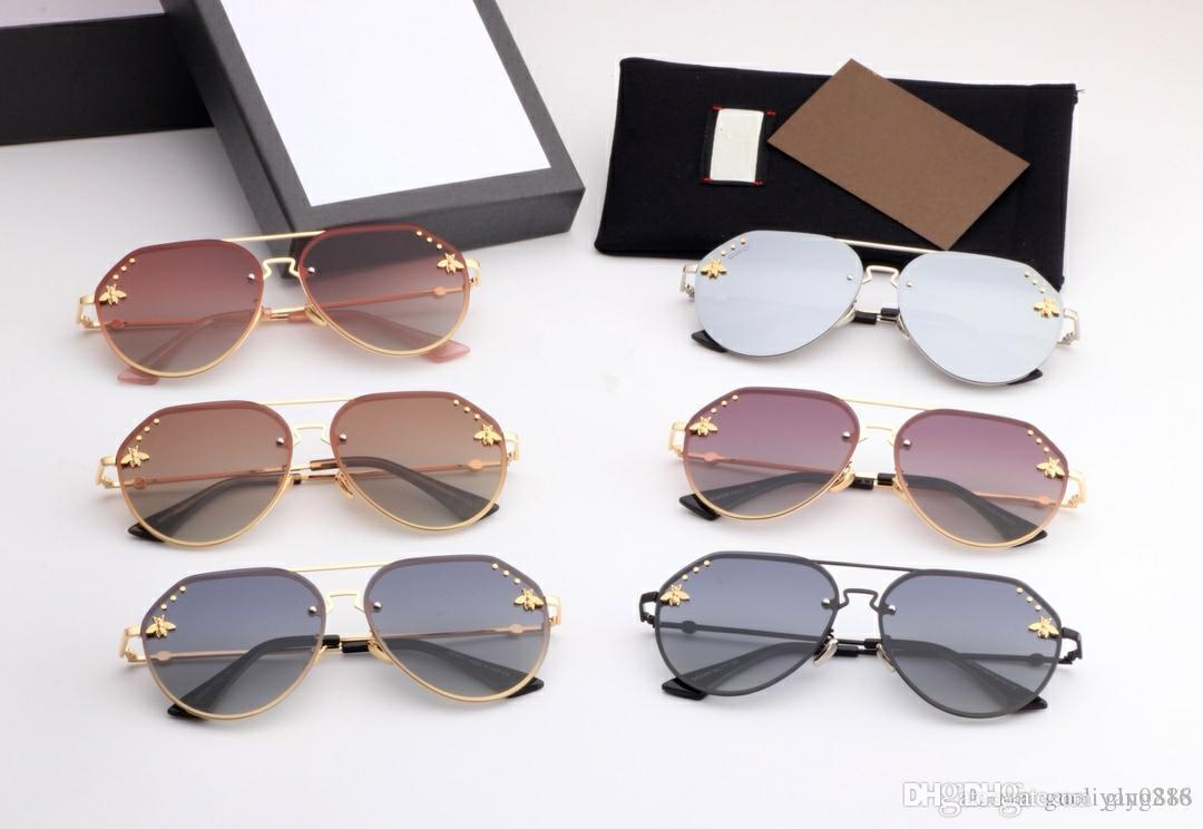 2019 new Brand glasses little bee glasses New round frame sunglasses, European and American Internet celebrities Driver driving sunglasses