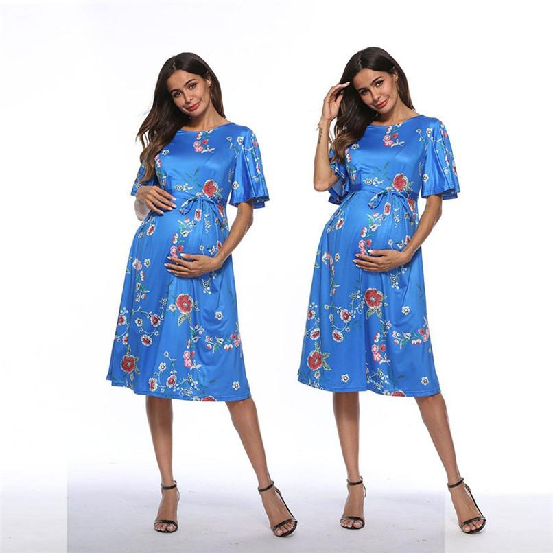 66ca09c164c12 2019 Summer Maternity Clothes Fashion Women Pregnants Maternity Short Sleeve  Floral Printed Dress Pregnancy Casual Dress M XXL JE21#F From Nextbest01,  ...