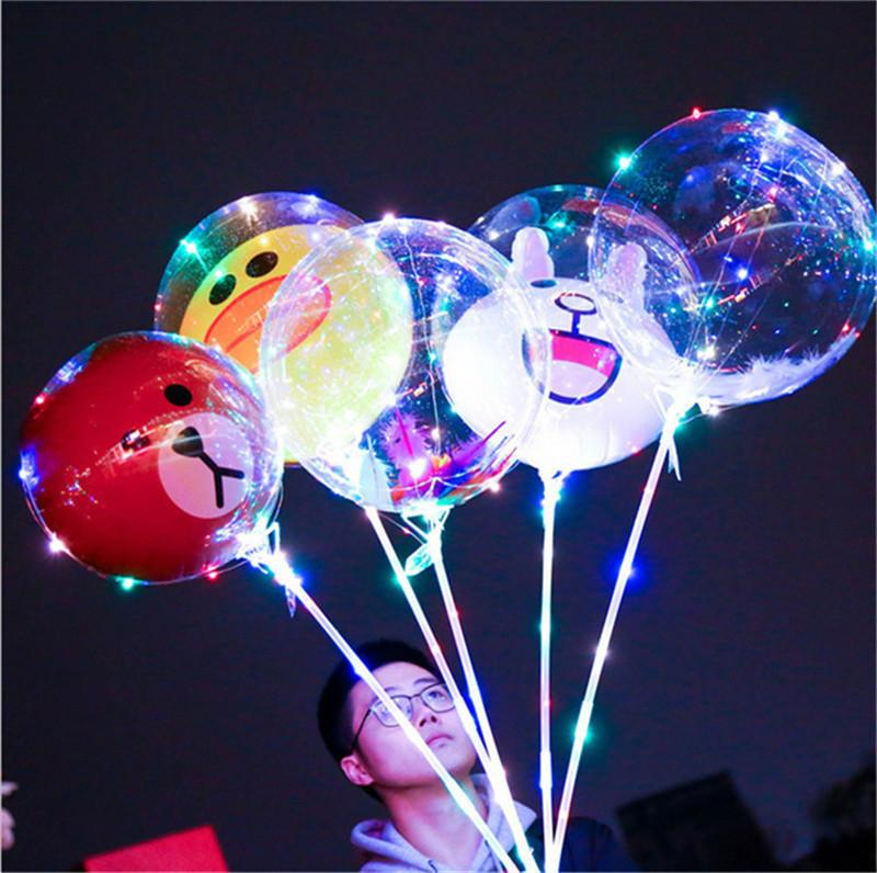 LED Cartoon Balloon Luminous Transparent Bobo Ball Light Up Balloons Toys Flashing Balloon with Stick Handle Festival Party Decorations