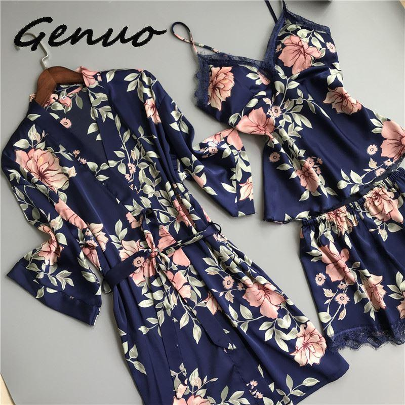 Genuo 2019 Women Pajamas 3 Pieces Satin Sleepwear Pijama with Chest Pads Spaghetti Strap Lace Silk Sleep Lounge Nightwear Pyjama