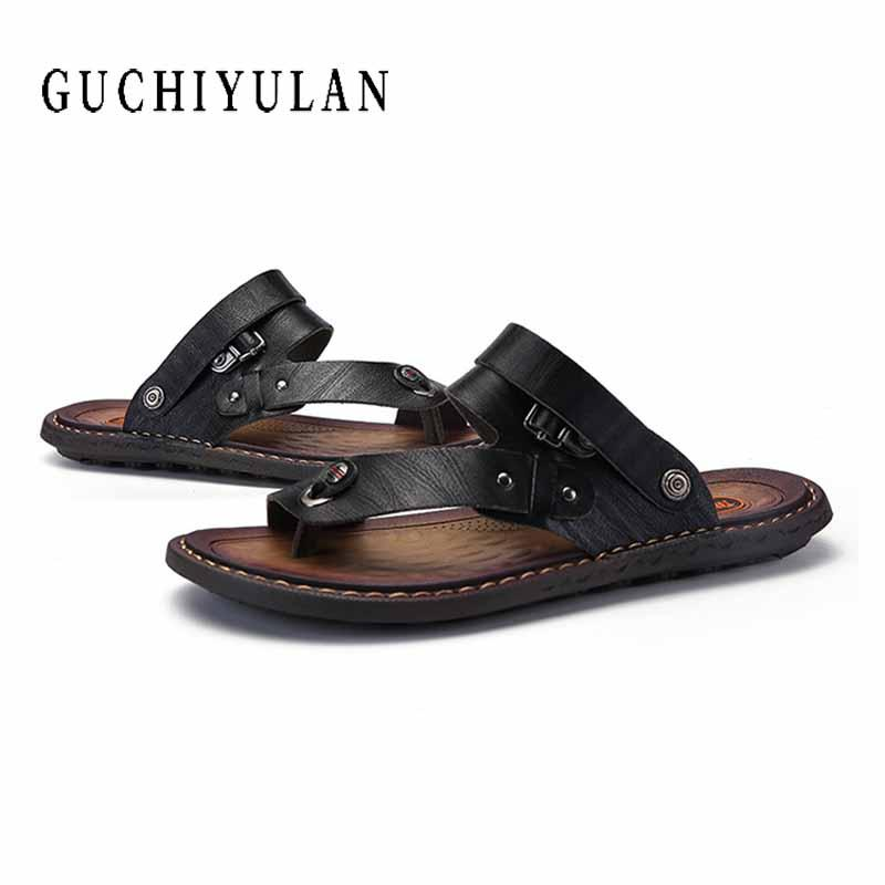 e38998eb2 Summer Hot Sale Men S Flip Flops Outdoor Genuine Leather Slippers Fashion  Beach Sandals Shoes For Men Big Size 45 46 47 White Sandals Wedge Heels  From ...