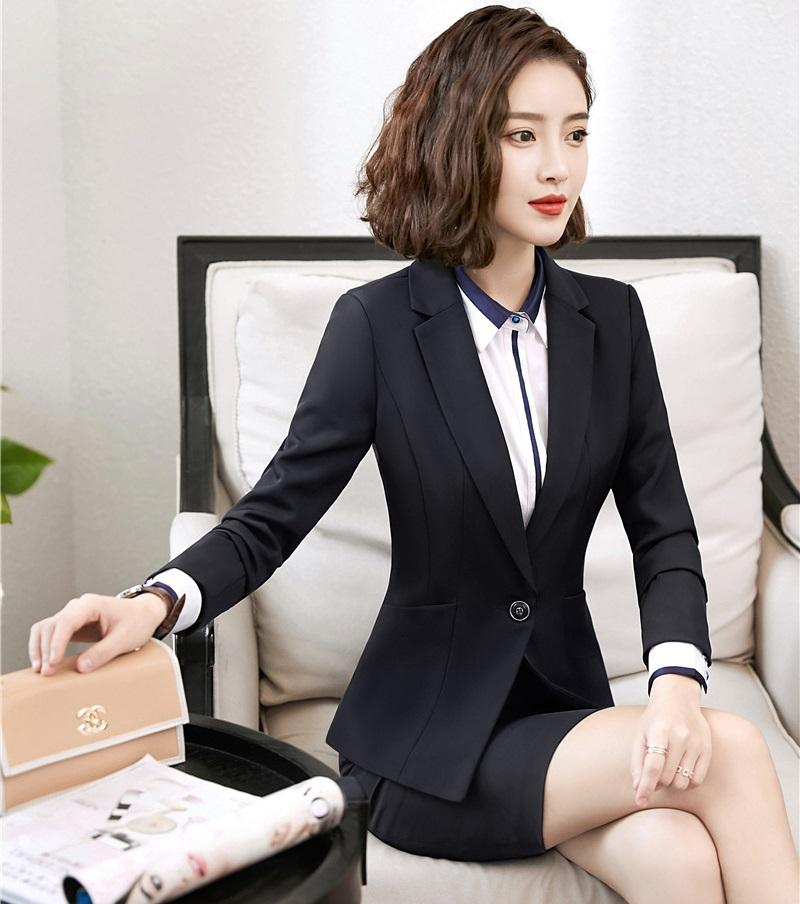 e676f695a2 2019 Formal Ladies Black Blazer Women Business Suits With Skirt And Jacket  Sets Work Wear Office Uniform Designs From Xianfeiyu, $72.72 | DHgate.Com