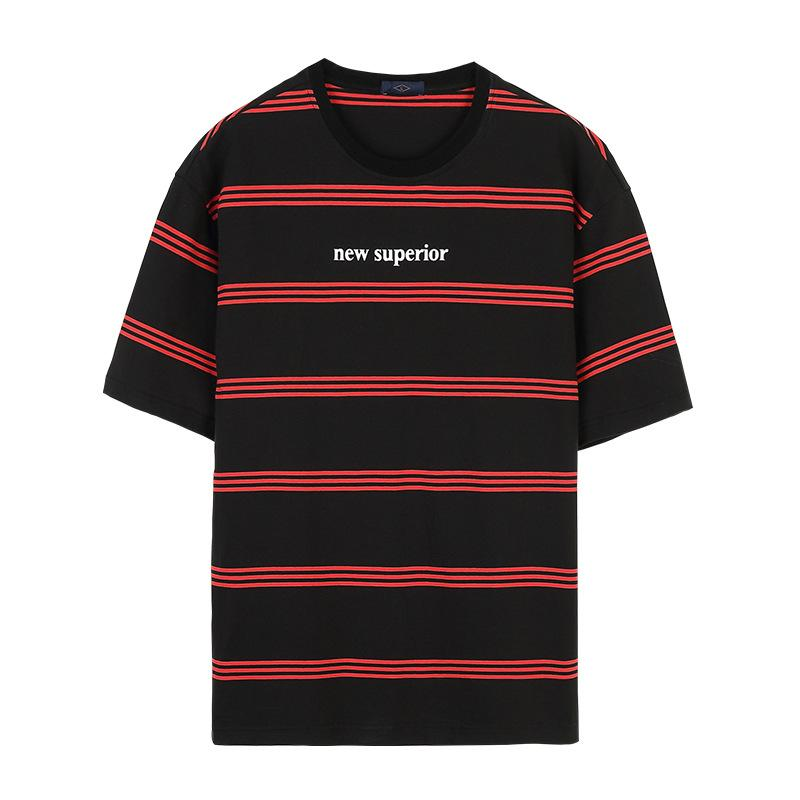 38d9c9c2f78c Moda para hombre s ropa 2019 nuevo diseño camiseta primavera y verano  camiseta de manga corta para hombre clásico a rayas impresa camiseta suelta  tops ...