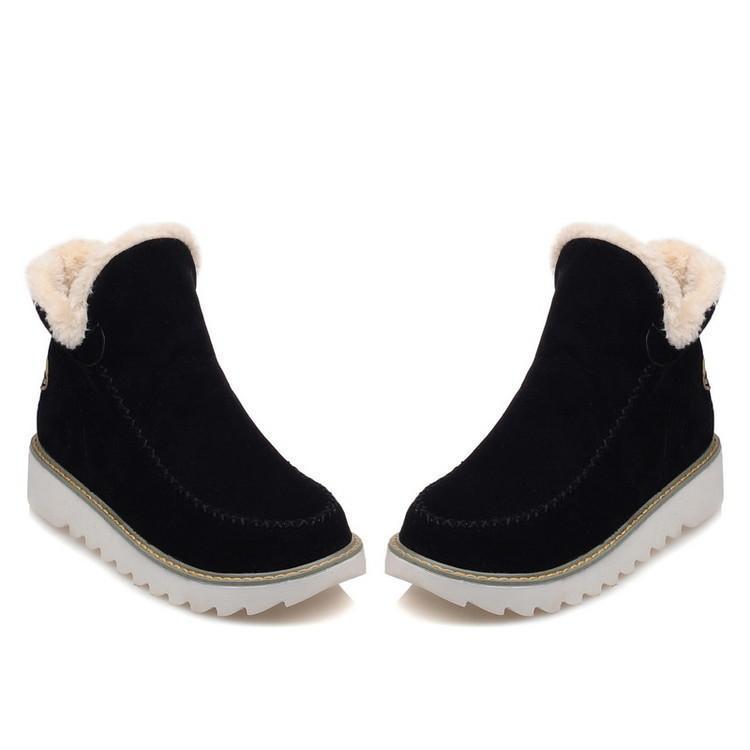 bbf853d8aa643 Warm Fur Women Snow Boots Flat Platform Winter Shoes Flock Ankle Boots  Female Fashion Non Slip Basic Snow Casual Shoes 35 43 Black Boots For Women  Platform ...