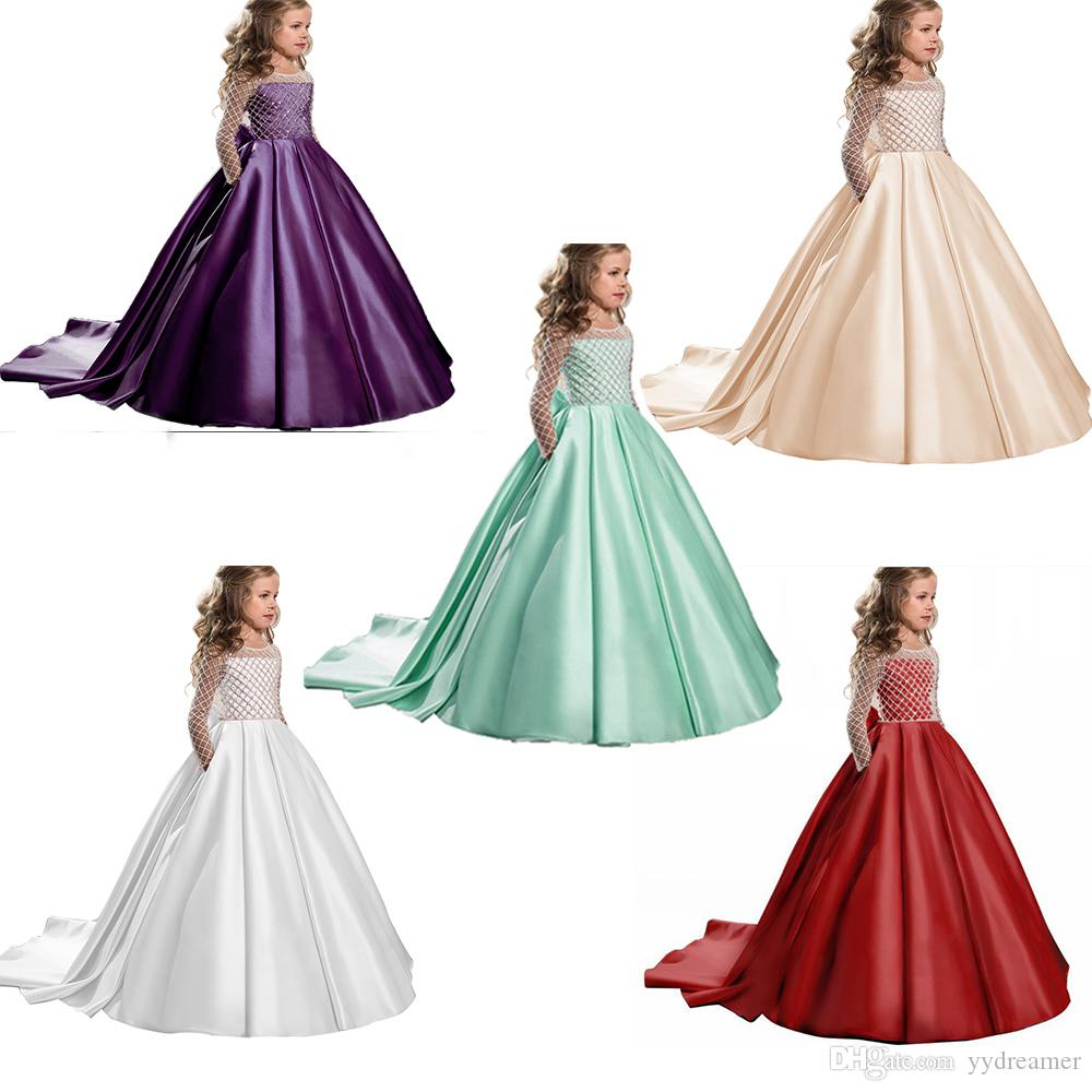 Long Sleeve Flower Girl Dress for Wedding Kids Party Formal Clothes Children Graduation Communition Long Prom Gowns For 4 5 6 7 8 9 12 Years