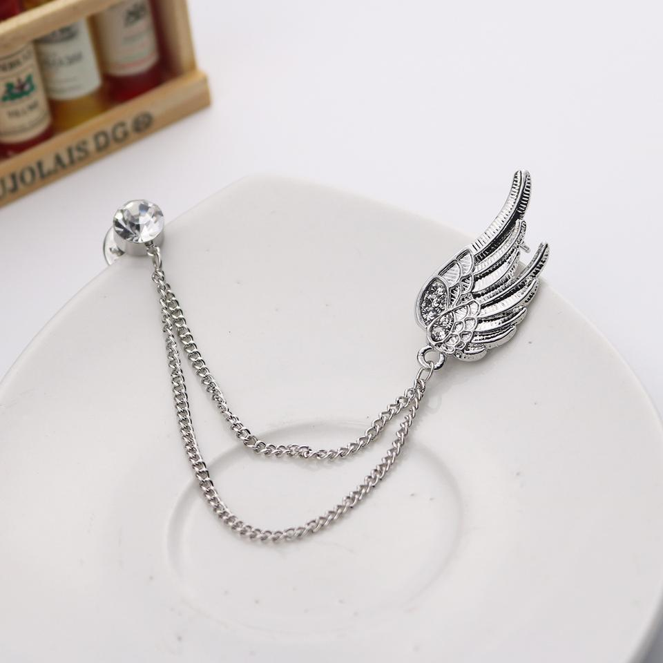 New Korean Silver Tassel Angel Wing Brooch Chain Corsage Collar Badge  Female Lapel Pin Medal Men s Suit Shirt Collar Accessories