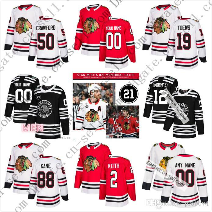2019 Custom Chicago Blackhawks 2019 Winter Classic Stan Mikita 21 Memorial  Any Number Name Men Women Youth DeBrincat Gustafsson Kane Toews Jersey From  ... 13a5ed150