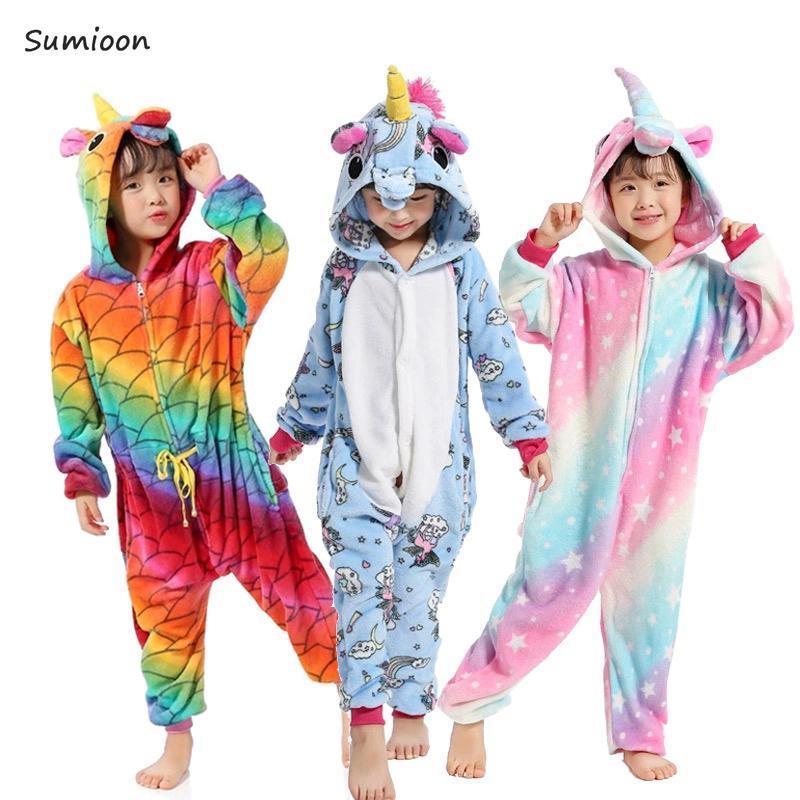 1443b3879dac6a Crianças Kigurumi Unicorn Pijama Meninas Pijamas Anime Panda Totoro Onesie  Crianças Traje Licorne Meninos Sleepwear Bebê Macacão J190520
