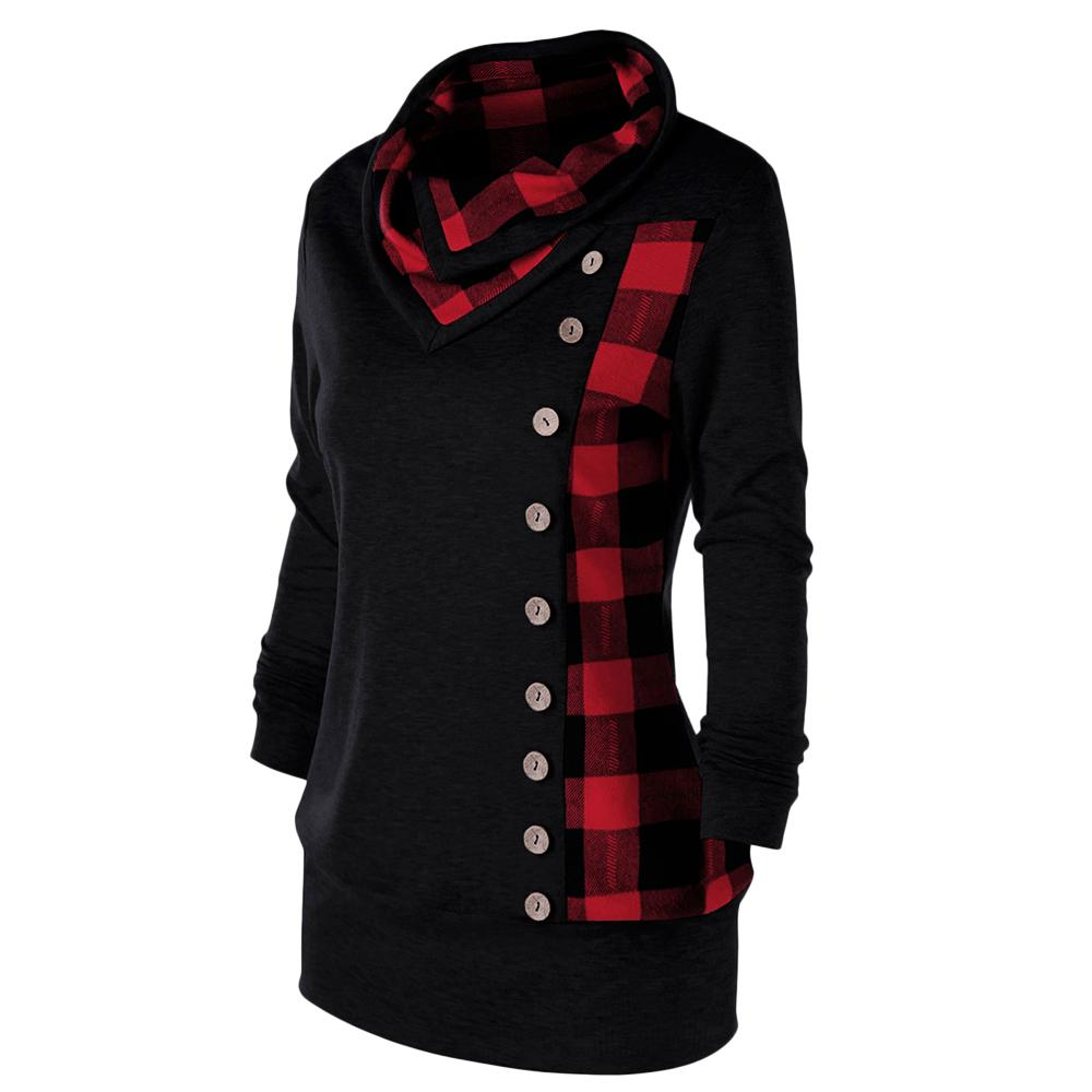 Plus Size Plaid Buttons Women Sweatshirt Cowl Neck Long Sleeve Hoodies Sweatshirts 2018 Casual Ladies Tops Pullovers 5XL