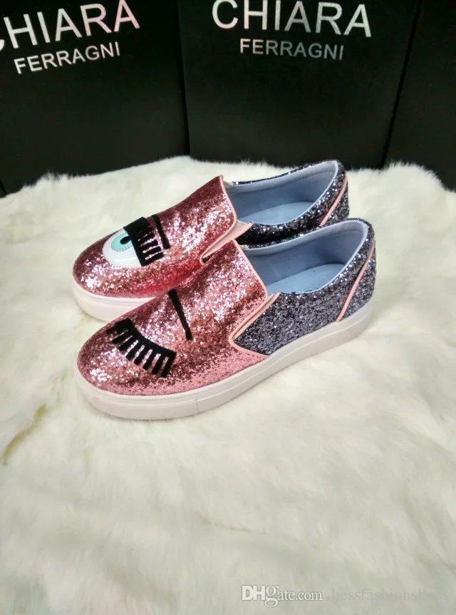 edad8cfa Compre Chiara Ferragni Glitter Pop Dog Slip On Sneaker Glitter Zapatillas De  Deporte Planas Mocasines Mujer Zapatos Planos En Plata Oro Azul Rosa  Amarillo A ...
