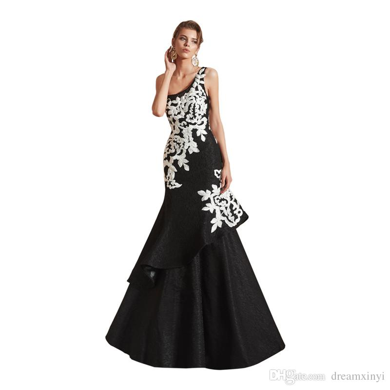 e82893742068 One Shoulder Black Mermaid Prom Dresses 2019 New Sleeveless White Applique  Ruffles Floor Length Sleeveless Formal Evening Dress Party Gowns Corset Prom  ...
