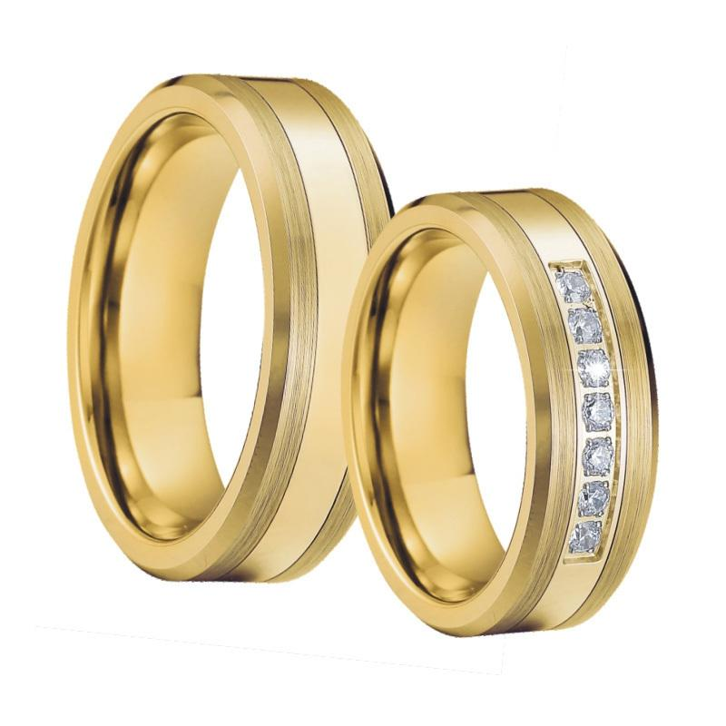 42b426b708 2019 Mens Tungsten Rings Wedding Band Ring Set Gold Color Bague Anel ...